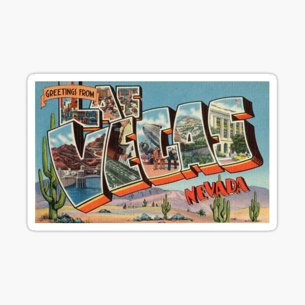 Vintage Colorful Greetings From Las Vegas Nevada Sticker