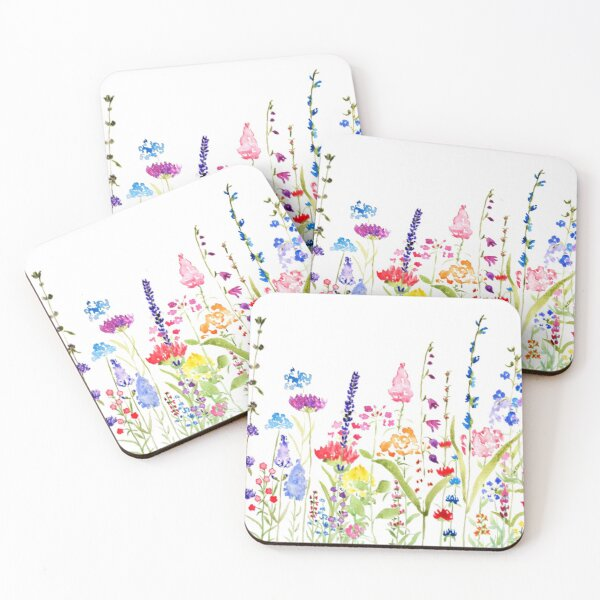 colorful wild flower field  Coasters (Set of 4)