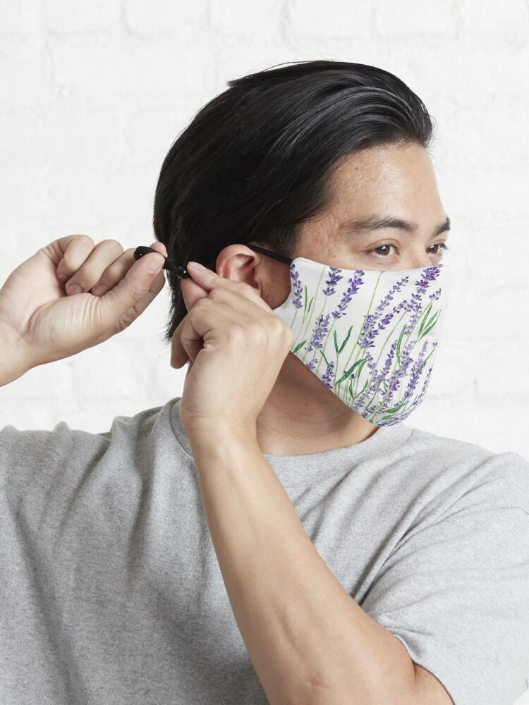 Alternate view of purple lavender horizontal watercolor Mask