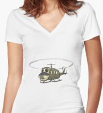 Military Helicopter Cartoon Women's Fitted V-Neck T-Shirt