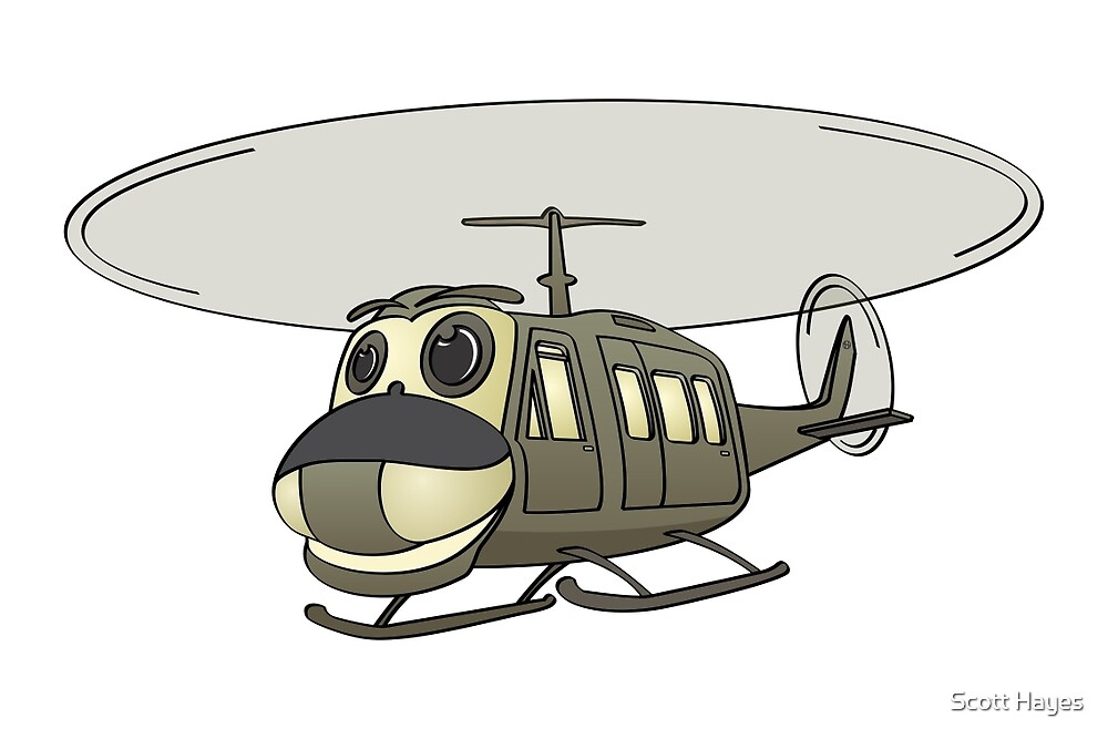Military Helicopter Cartoon by Graphxpro
