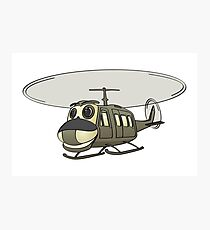 Military Helicopter Cartoon Photographic Print