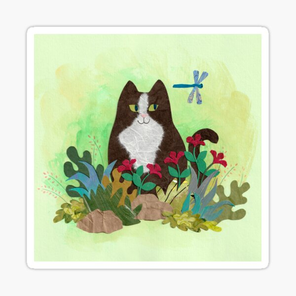 Black and White Cat Sees Dragonfly in the Garden Sticker