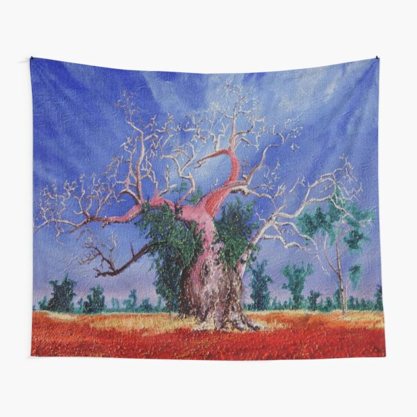 Outback Boab Tree - Print of Oil on canvas original artwork Tapestry