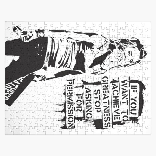 Banksy quote graffiti If You Want to Achieve Greatness stop asking for permission black and white with Banksy tag signature Jigsaw Puzzle