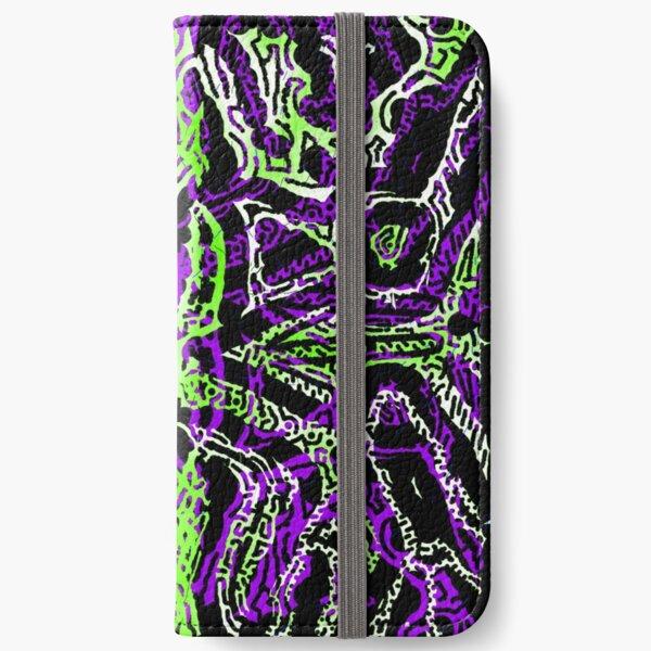 motif inca vert fluo violet Étui portefeuille iPhone
