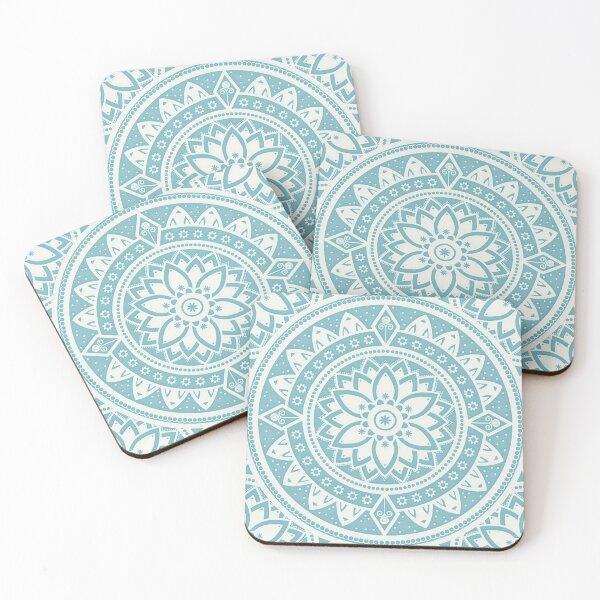 Blue circular relaxing mandala Coasters (Set of 4)