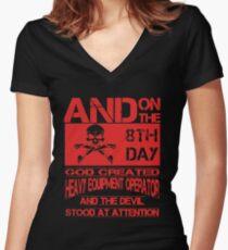 God made Heavy Equipment Operator Women's Fitted V-Neck T-Shirt