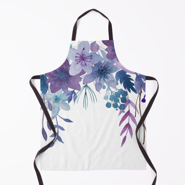 Blue Purple Flowers Apron