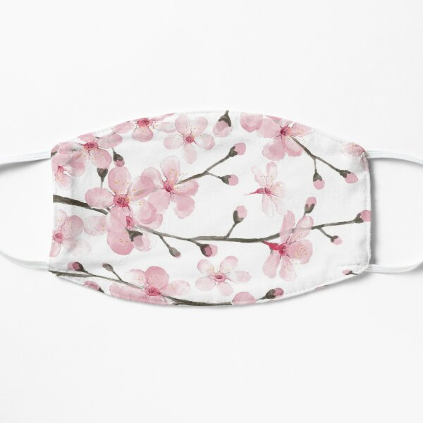 pink cherry blossom watercolor Mask