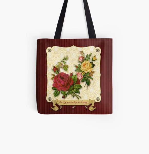 Loving You Makes Me Happy Elegant Roses Damask All Over Print Tote Bag