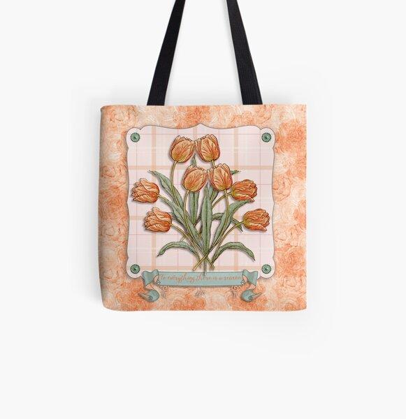 Vintage Orange Tulips Peach Pink Plaid Green Ribbon All Over Print Tote Bag