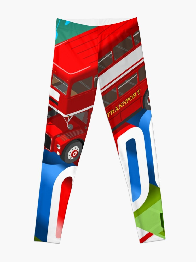 Alternate view of London-Bus-Postcard-Isometric Leggings