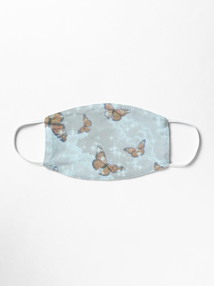 Pretty Sky Blue Aesthetic Design Background With Butterflies Mask By Sameeksha1205 Redbubble