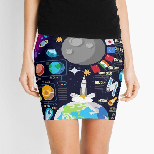 Space Universe Infographics Big Bang Mini Skirt
