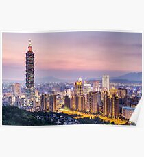 Taipei 101 tower in Taipei, Taiwan at sunset Poster