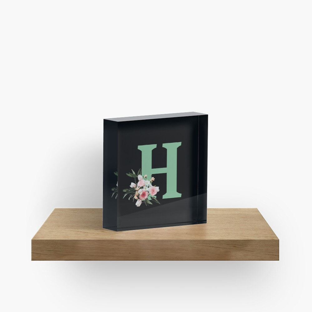 Letter H green with colorful flowers  Acrylic Block