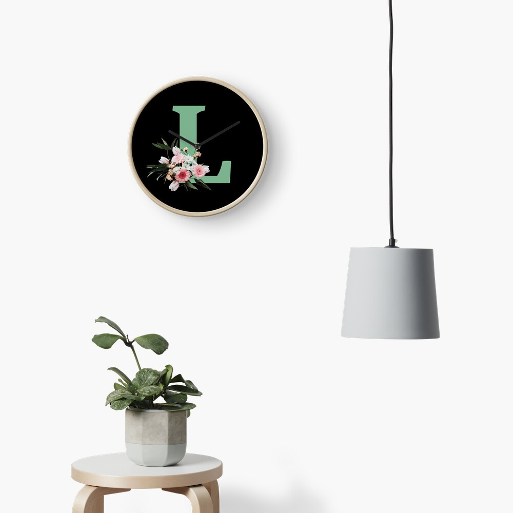 Letter L green with colorful flowers  Clock