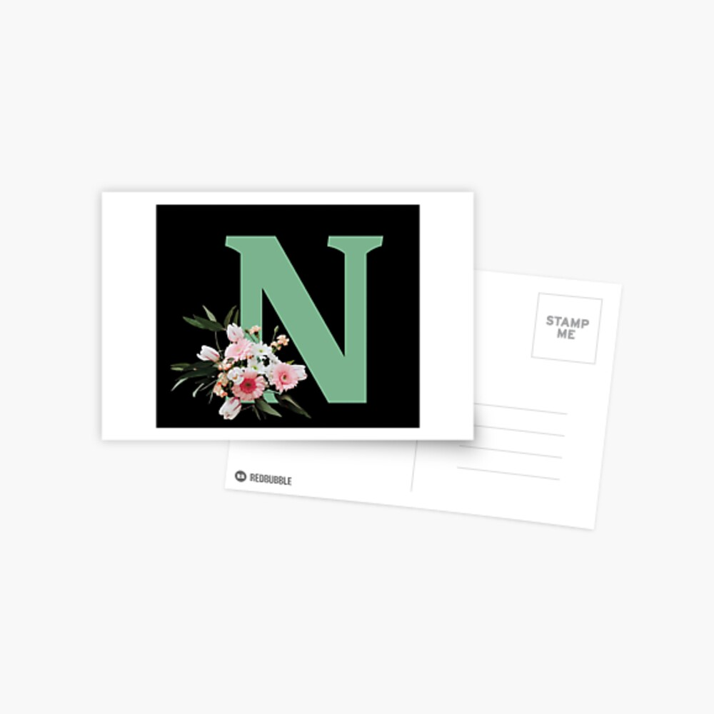 Letter N green with colorful flowers  Postcard