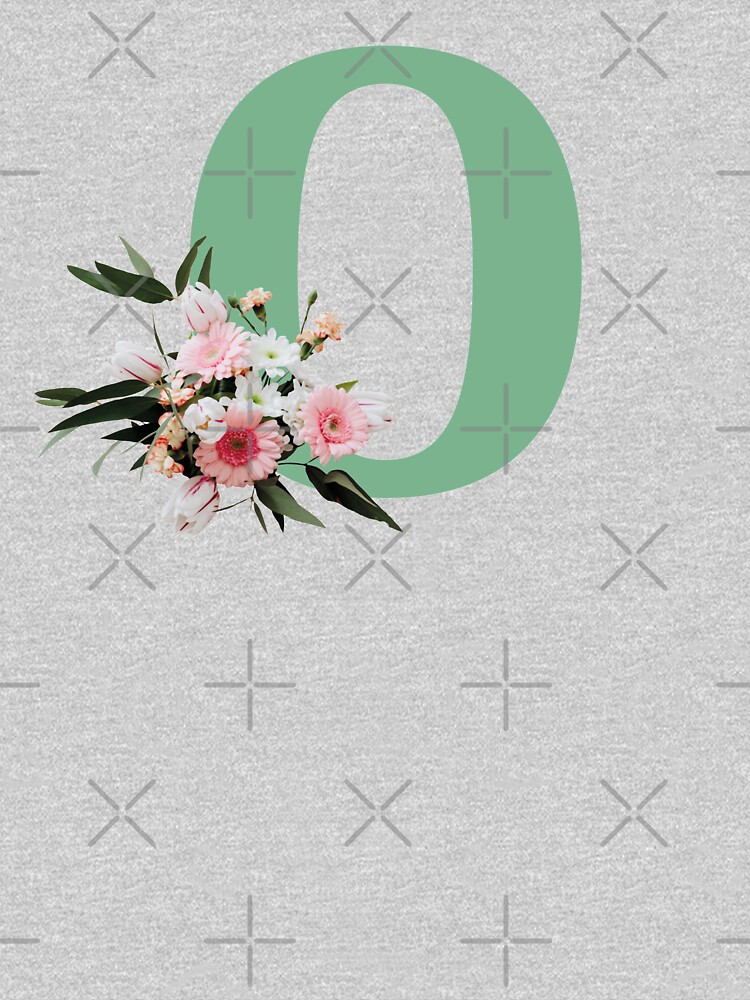 Letter O green with colorful flowers  by ColorsHappiness