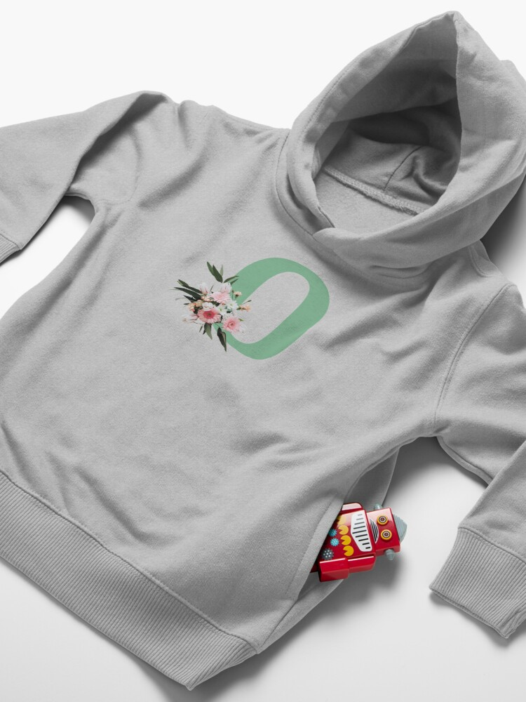 Alternate view of Letter O green with colorful flowers  Toddler Pullover Hoodie
