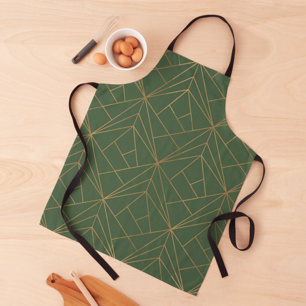 Green and Gold Geometric Pattern  Apron