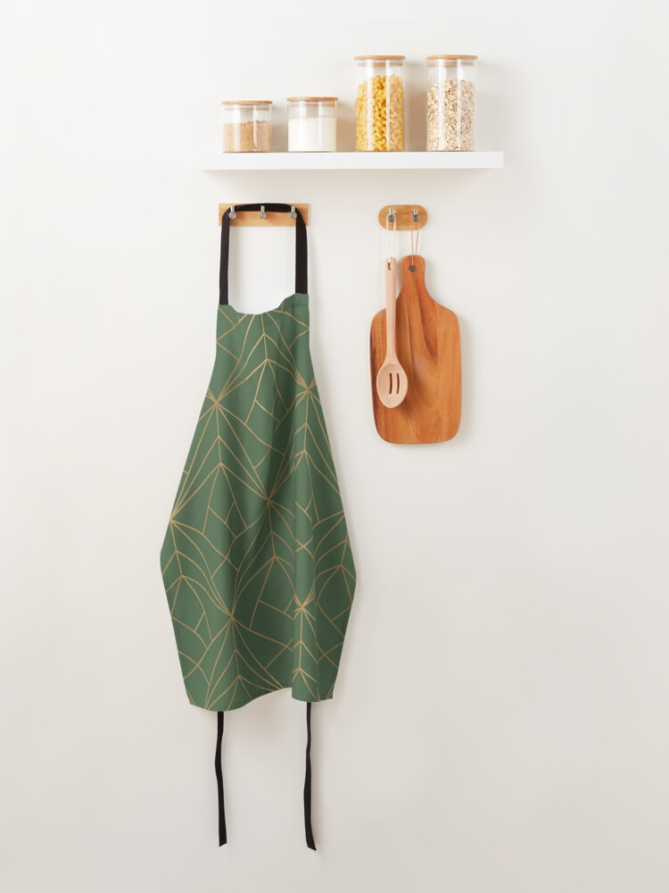 Alternate view of Green and Gold Geometric Pattern  Apron