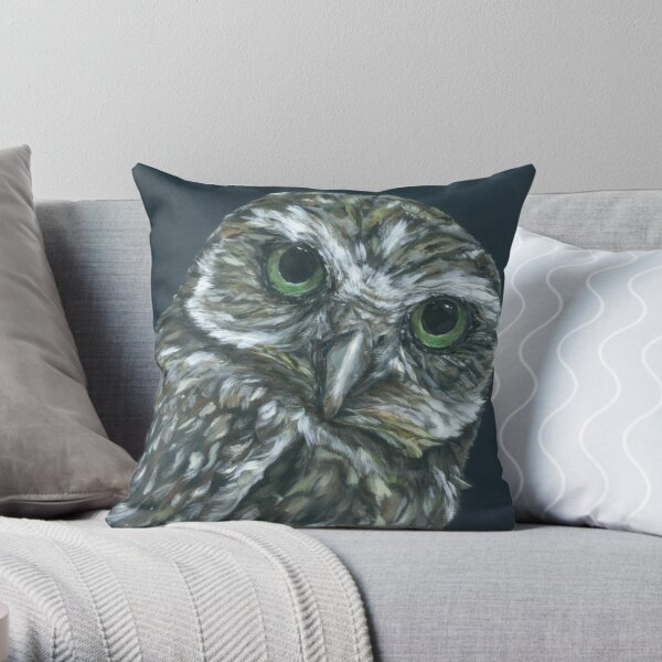Twit. Owl art by award-winning UK artist Sam Fenner Throw Pillow