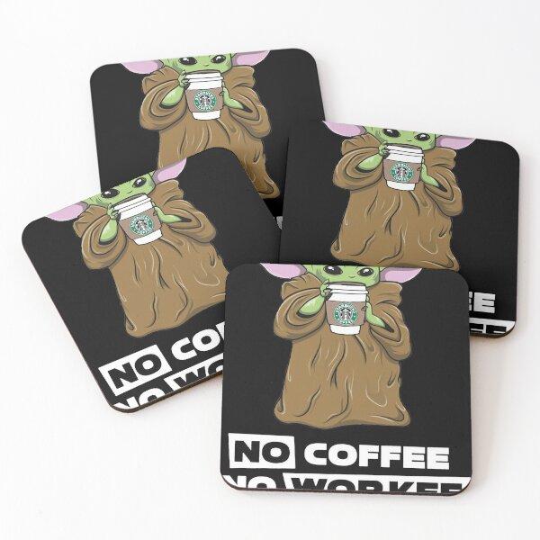 Camiseta de Mujer Baby Yoda No Coffee No Workee Posavasos (lote de 4)