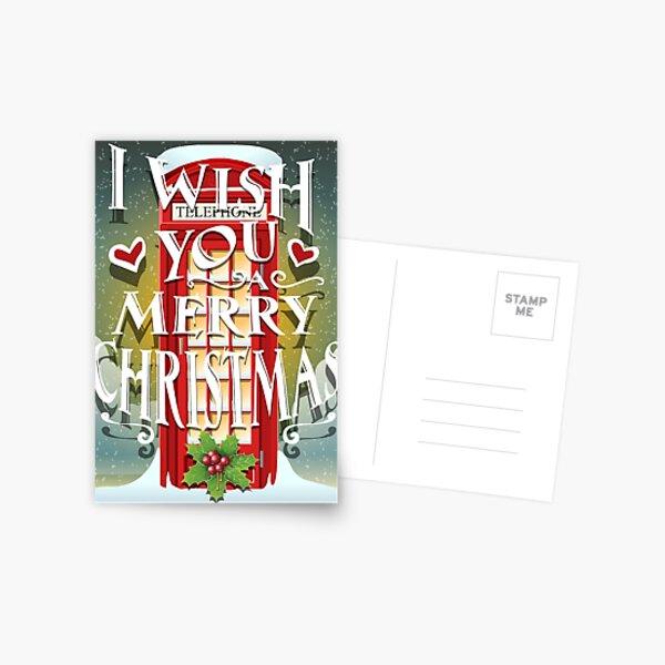 Christmas Card with English Cabin Postcard