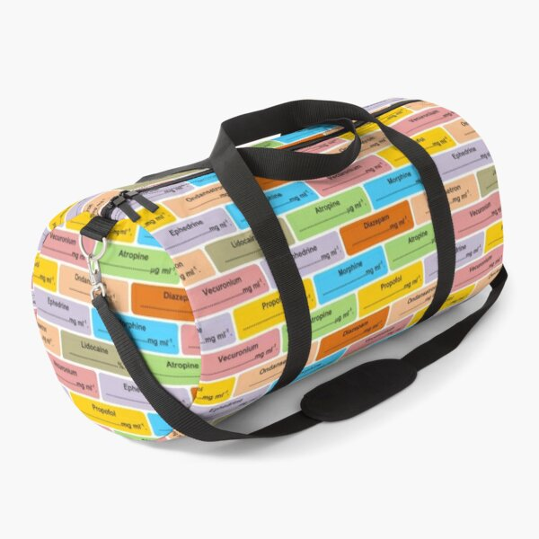 Gift for Anaesthetist / Anesthetist / Anesthesiologist Drug Label Pattern Duffle Bag