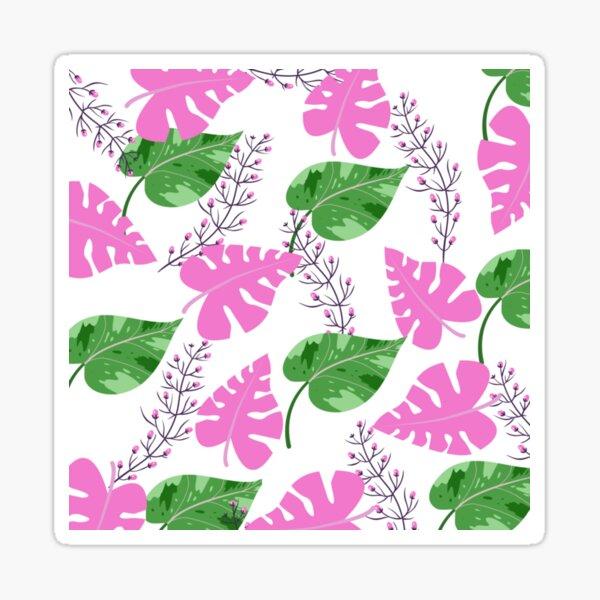 Green pink leaves Sticker