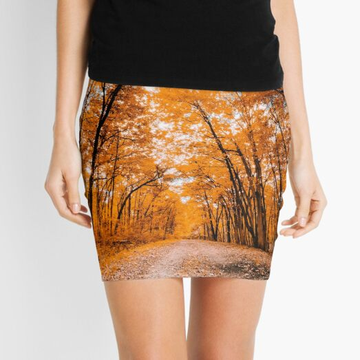 Orange Fall Forest Trail Mini Skirt