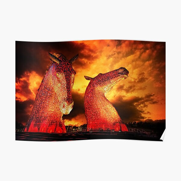 The Kelpies, under a stormy sky Poster