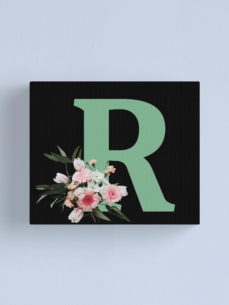 Alternate view of Letter R green with colorful flowers  Canvas Print