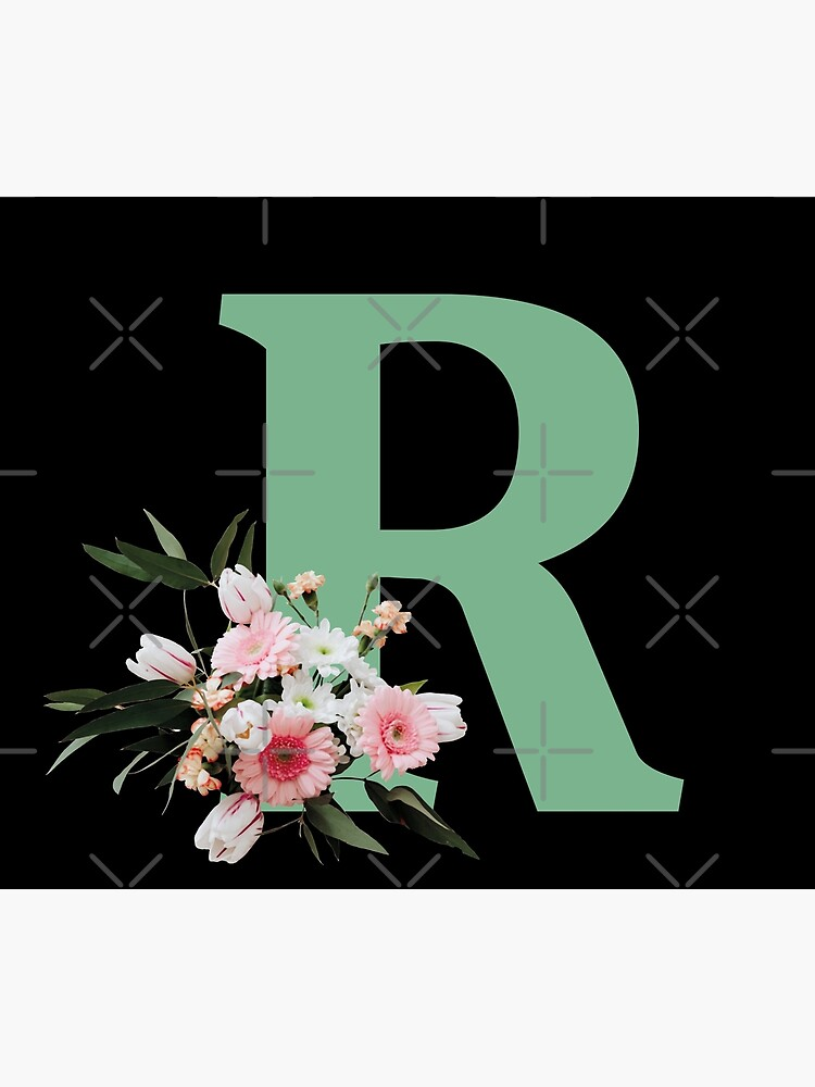Letter R green with colorful flowers  by ColorsHappiness