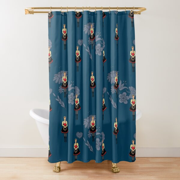 Klara from Moravia, folklore girl in folk costume blue background Shower Curtain