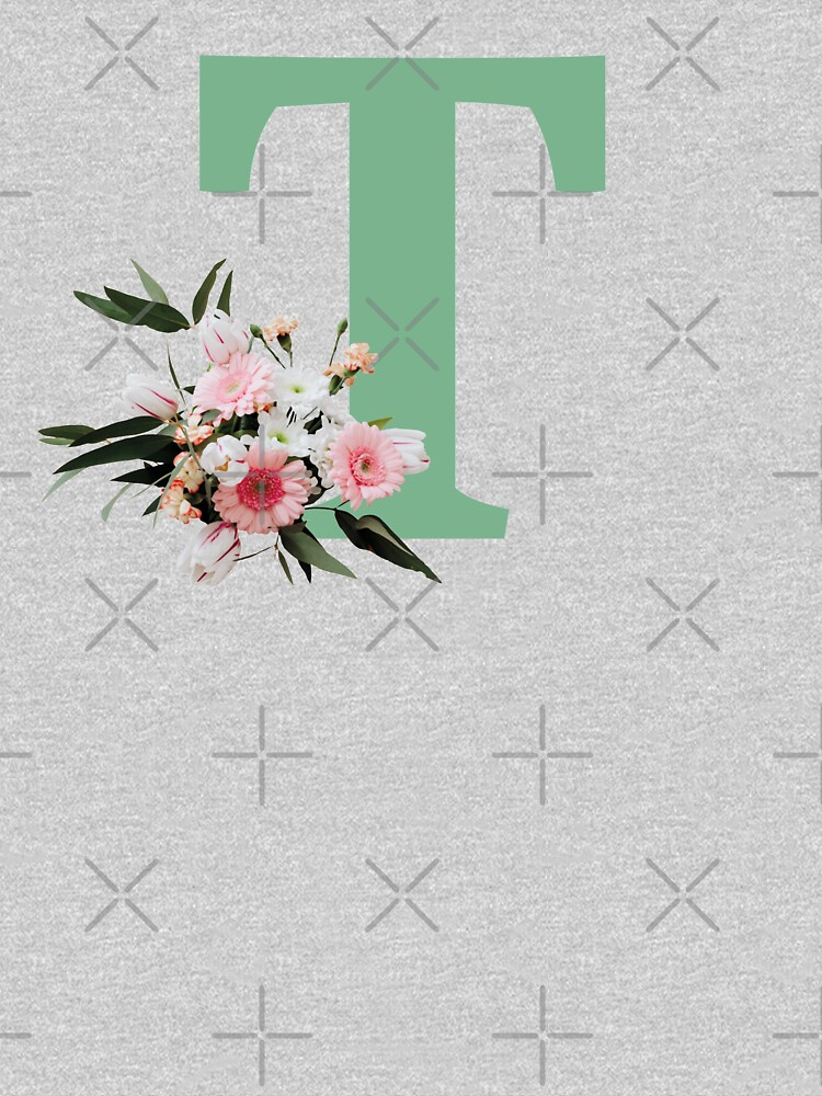 Letter T green with colorful flowers  by ColorsHappiness