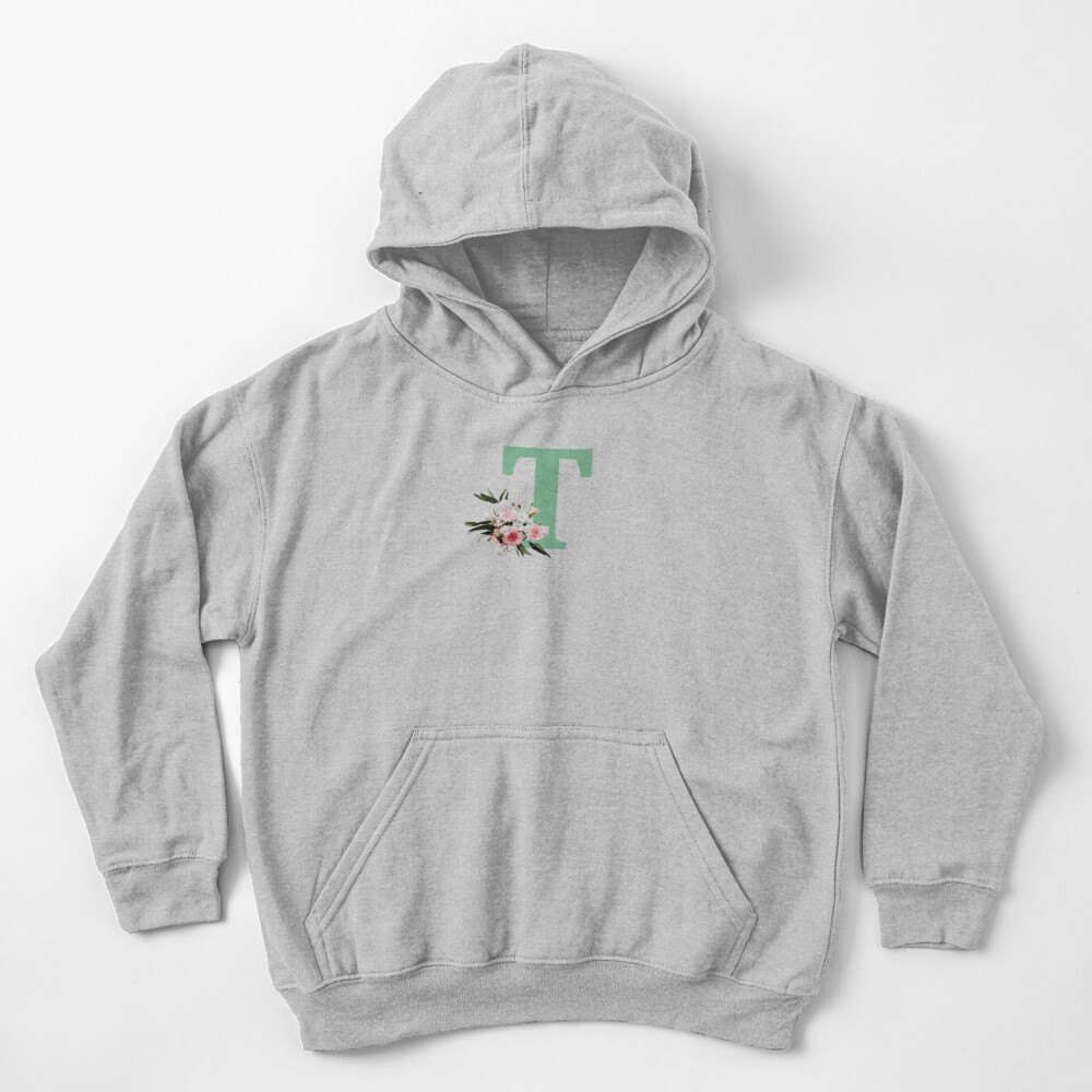 Letter T green with colorful flowers  Kids Pullover Hoodie