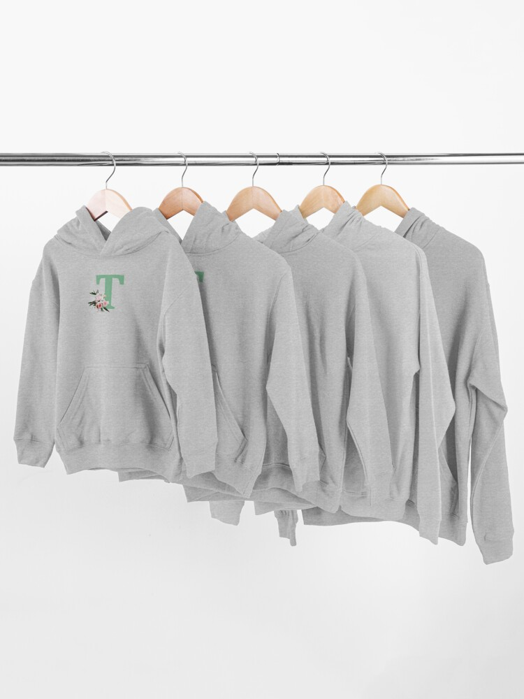 Alternate view of Letter T green with colorful flowers  Kids Pullover Hoodie