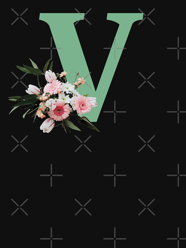 Letter V green with colorful flowers  by ColorsHappiness