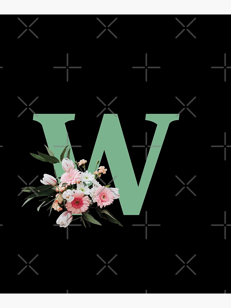 Letter W green with colorful flowers  by ColorsHappiness