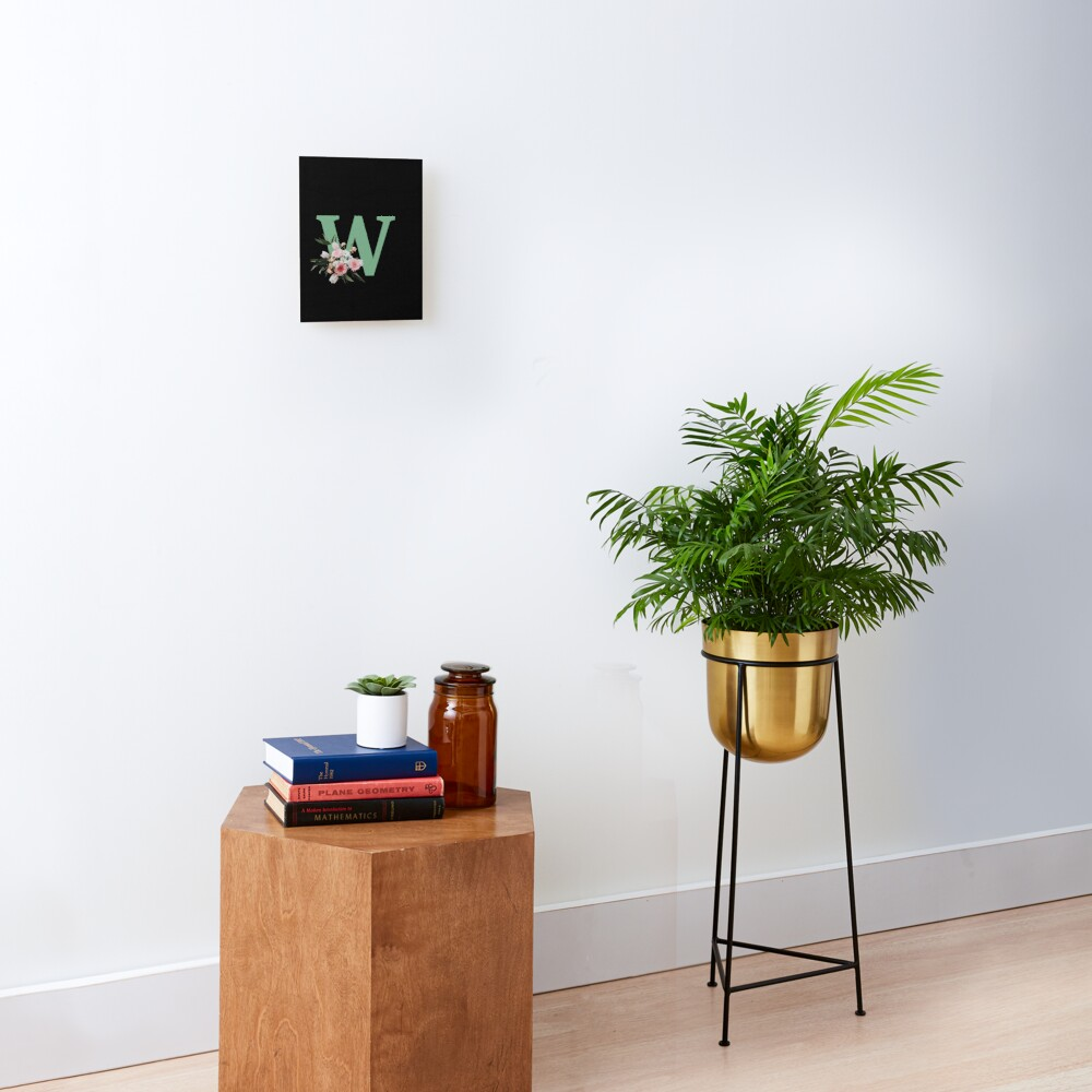 Letter W green with colorful flowers  Mounted Print