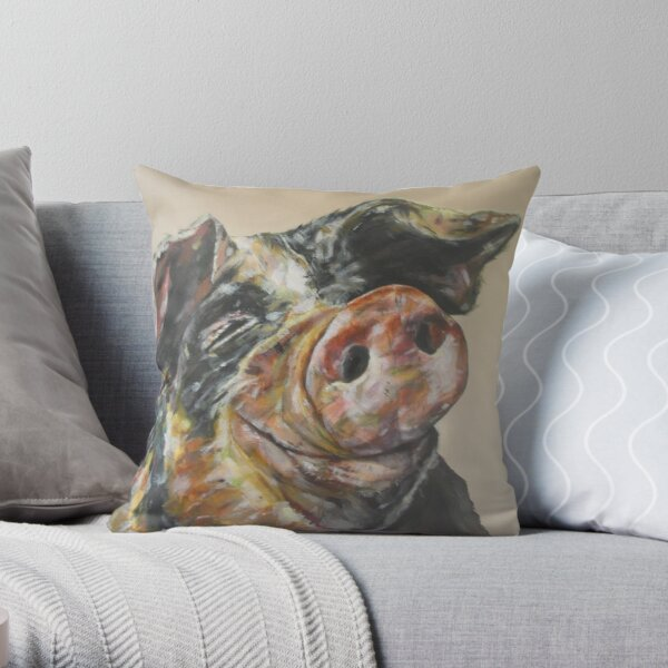 Chuckle. Pig art by award-winning UK artist Sam Fenner Throw Pillow