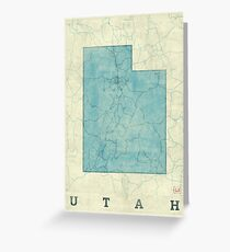 Utah State Map Blue Vintage Greeting Card