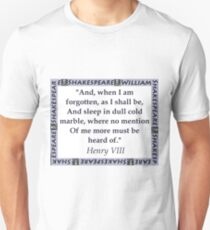 And When I Am Forgotten - Shakespeare Unisex T-Shirt