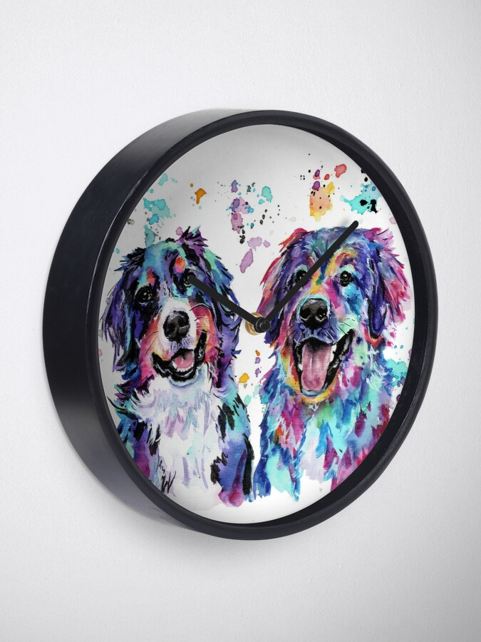 Alternate view of Colourful Watercolour Mountain Dogs Clock