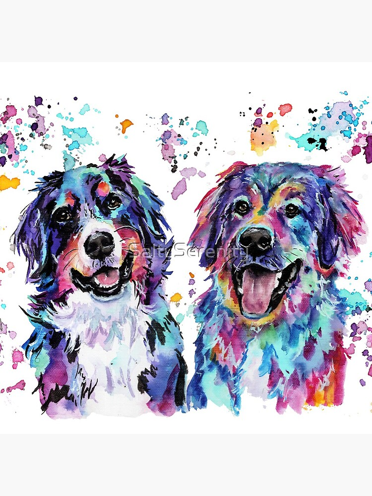 Colourful Watercolour Mountain Dogs by SaltySerenity