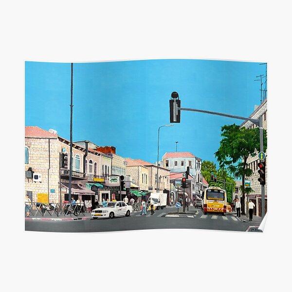 רחוב יפו Crossing Jaffa road, oil on canvas, Jerusalem, Israel, Poster