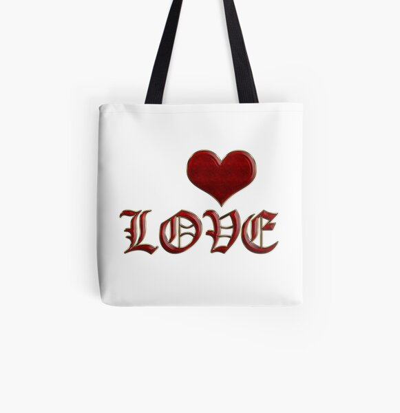 Love Heart Old English Classic Lettering Red Gold All Over Print Tote Bag